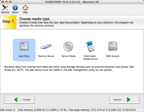 FILERECOVERY 2010 Standard (Mac) screenshot