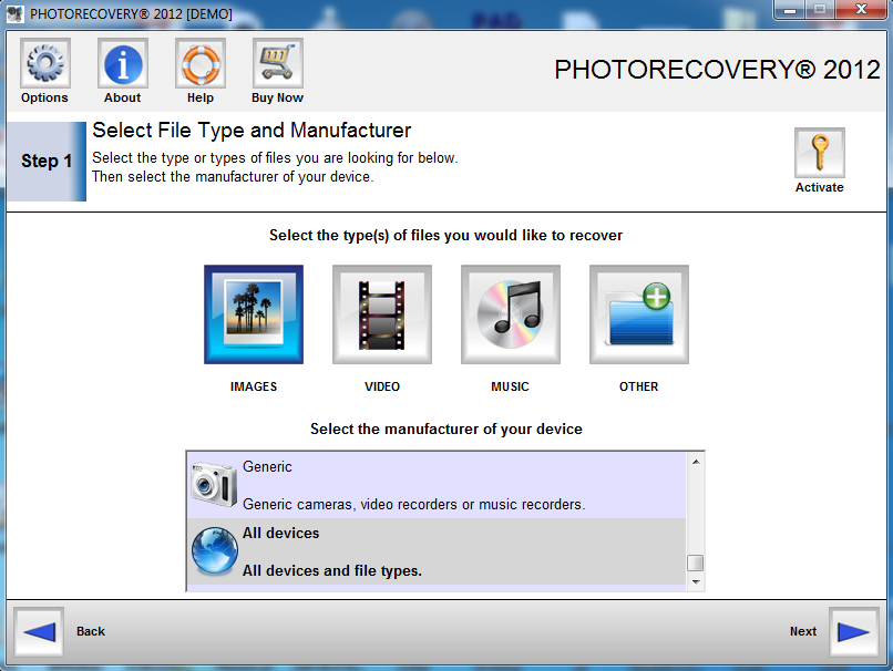 PHOTORECOVERY Standard 2016 for PC Screen shot